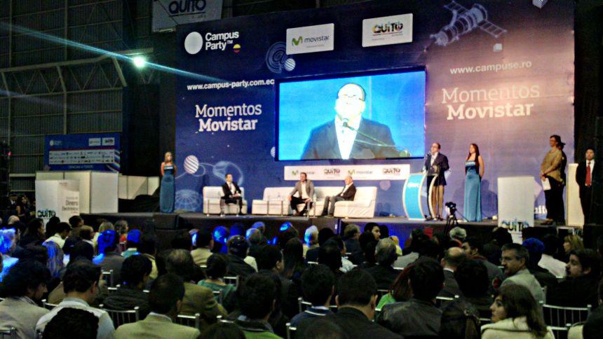 Quito.- Autoridades se dieron cita a la inauguración del Campus Party 2014 / Foto: Alex Godoy