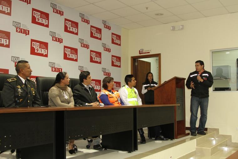 Autoridades de las instituciones articuladas al ECU911. Foto:  Alex Godoy R / ImbaburaHoy