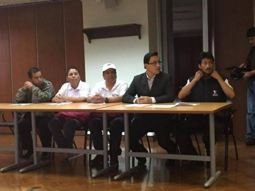 Quito.-  A las 16h00 de hoy se instaló la audiencia de flagrancia en la Corte Nacional de Justicia. | Foto: Twitter David Rosero.