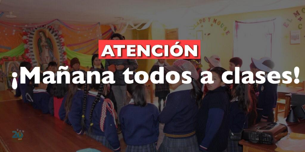 Ministerio de Educación mantiene suspendidas las clases en la Sierra